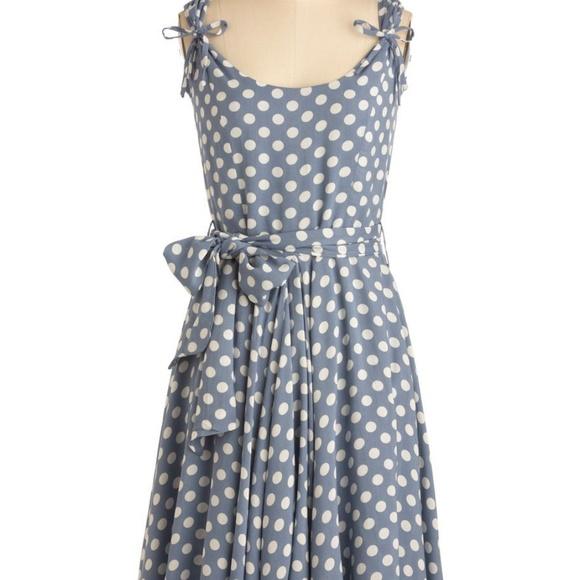 Modcloth Dresses & Skirts - ModCloth Fit and Flare Blue Polka Dot Rayon Dress
